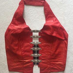90's Sexy Biker Babe Leather Halter Vest